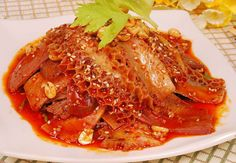 Husband and wife lung slices (fuqi feipian) - pieces of addictively spicy beef offal served cold.