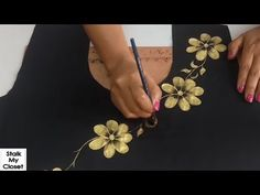 Hope you enjoy watching the video! ****************************************************************** More videos from our channel Umbrella Top Cutting and S. Stencil Fabric, Stencil Printing, Printing On Fabric, Fabric Painting On Clothes, Painted Clothes, Hand Painted Dress, Hand Painted Fabric, Embroidery Designs, Embroidery Suits