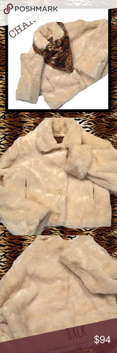 """CHARTA Off White Faux Fur Cropped Jacket ~ Large Beautiful soft fluffy winter white Faux fur cropped jacket from Charta, size large.  Mint condition!! Shoulders - 21"""" , sleeves - 26"""", unfolded, bust - 25 1/2"""" across, length - 21"""". Charta Jackets & Coats"""