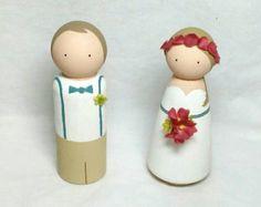 Boda madera Peg muñeca de pastel de cumpleaños con por CustomCao