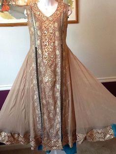 NEW PAKISTANI INDIAN FANCY WEDDING SHAADI SHALWAR KAMEEZ DRESS 3PC S-M SUIT