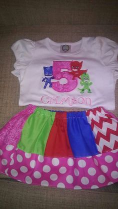 Custom. Pj mask birthday outfit. Braylee's Sew Sweet Boutique
