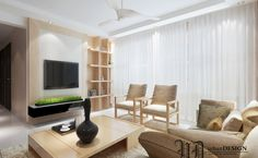 Effect of grass under the TV is somehow the creative thing you can see within this simple yet graceful living room. A tall vase on center table is fulfilling the areas of decoration where needed.  Project by Urban Design  #interiordesign #livingroom #renovation #cosy #home #sghomes #idsg #housedecor #renopedia #hdb #homestyling #furniture #furnishing #bedroom  #minimal #picoftheday #followme #follow #archidaily #beautiful #design #abstract