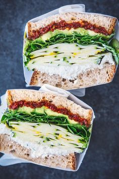 Summer Squash Sandwich With Spicy Sun-Dried Tomato & Herbed Ricotta