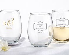 Decorate your wedding venue or give guests the perfect wedding favor with personalized stemless glasses from Kate Aspen. Toast to good style!