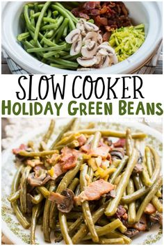 These Slow Cooker Holiday Green Beans are an easy fresh side dish for the holiday meal! -The Magical Slow Cooker Crockpot Side Dishes, Crock Pot Food, Crock Pot Slow Cooker, Side Dish Recipes, Slow Cooker Recipes, Crockpot Recipes, Delicious Recipes, Crock Pot Vegetables, Vegetable Recipes