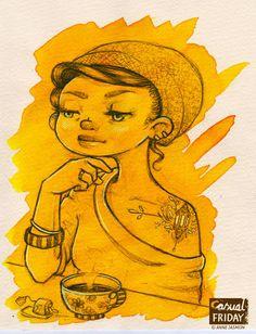 Anne Jasmijn #Lady #Ecoline #Drawing #Yellow #Tattoo