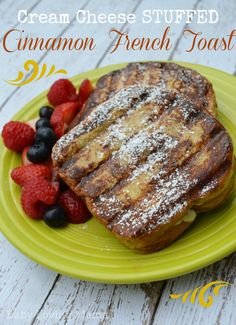 Cream Cheese Stuffed Cinnamon French Toast - This tastes amazing! Brunch Recipes, Breakfast Recipes, Kraft Recipes, Kraft Foods, Roll Ups Recipes, Cinnamon French Toast, Breakfast For Dinner, Food And Drink, Cooking Recipes
