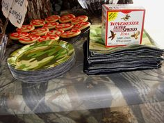 Party favors found at Walmart. The wind was really blowing this day, so I used a box of my husband's shotgun shells as a napkin weight. Camo Party, Party Party, Party Time, Party Favors, Party Ideas, 55th Birthday, 1st Birthday Parties, Birthday Stuff, Birthday Ideas
