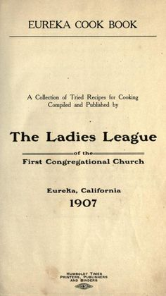 Eureka cook book : a collection of tried recipe...
