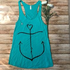"""Last One"" Boutique Turquoise Anchor Tank🌵 From my shop ""The Neu Boutique"" is this Turquoise Anchor Tank.  Comfortable material, very nice for a warm day or the beach. From shoulder to bottom is 30 1/2"", made of 95% rayon and 5% spandex. Tops Tank Tops"