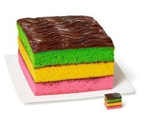 Rainbow Cookie Cake with cake mix Cooking spray 3 to boxes white cake mix (plus required ingredients) 1 teaspoons pure almond extract Pink, yellow and green gel food coloring 1 cup seedless raspberry jam 2 bars semisweet chocolate Cake Recipe Food Network, Food Network Recipes, Mini Cakes, Cupcake Cakes, Cupcakes, Italian Rainbow Cookies, Italian Cookies, Cookie Recipes, Dessert Recipes