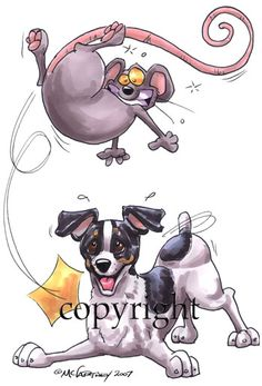 rattie tumbles ~  Rat Terrier - Cartoon