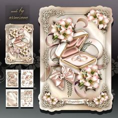 Wedding Engagement Rings Card Mini Kit on Craftsuprint designed by Atlic Snezana - Wedding Engagement Rings Card Mini Kit: 4 sheets for print with decoupage for 3D effect plus few sentiment tags (for your own personal text) - Now available for download!