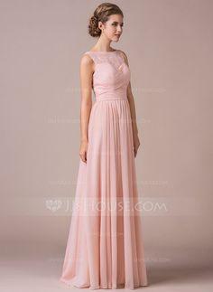 A-Linie/Princess-Linie U-Ausschnitt Bodenlang Chiffon Spitze Brautjungfernkleid mit Rüschen (007057702) - JJsHouse