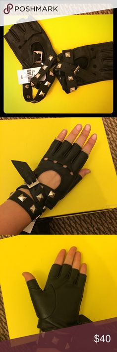 LF leather fingerless gloves Real leather fingerless gloves with studded wrap around buckle. Brand new with tag, never  worn! One size. No trades!  LF Accessories Gloves & Mittens