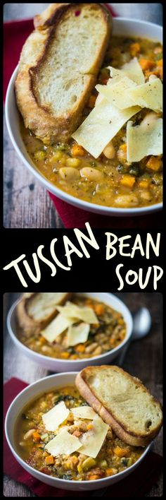 Easy Tuscan Bean Soup // 30 minute meal #protein #healthy