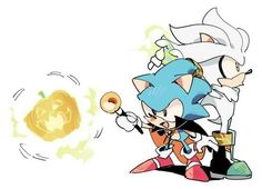 NEW CLASSIC SONIC PIC! a little late for halloween but it's still cute P.s Awww silver is helping him aw