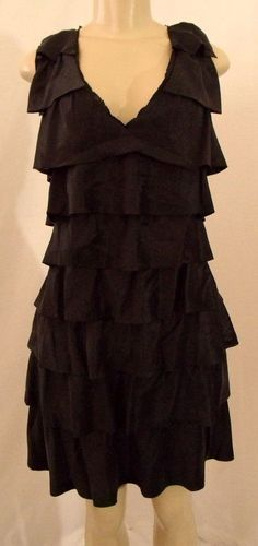 Sz M BCBG MAXAZRIA Black Tiered Ruffle V Neck SILK Satin Party Cocktail Dress | eBay $39.99