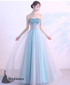 On Sale Great Blue Evening Dresses Blue Long Prom Dress Sweetheart Evening Dress Applique Tulle Formal Dress Grey Prom Dress, Blue Evening Dresses, Black Prom Dresses, Trendy Dresses, Formal Dresses, Dress Long, Formal Prom, Prom Long, Hot Dress