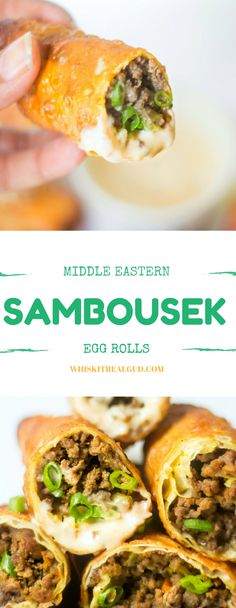 Crunchy on the outside and savory aromatic meat filling on the inside. This Middle Eastern Sambousek is bursting with flavor. One of my husbands fav food when he lived in Egypt. Perfect hand food for game day!