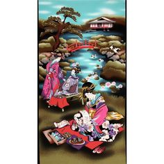 Michael Miller Asian Tea Time In Tokyo Panel Multi from @fabricdotcom  Designed for Michael Miller Fabrics, this scenic panel features a three geishas performing a ritual tea ceremony. The panel measures 24'' x 44'''. Colors include red, black, purple,turquoise and gold. Use for quilting and craft projects.