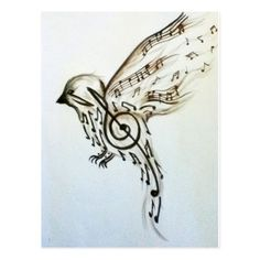 Bird Music Note Tattoo-ok, I'm not encouraging my daughter to scar her beautiful skin with a tatoo, but since she has her mind mind up, I like this one (when she turns Fairy Tattoo Designs, Music Tattoo Designs, Music Tattoos, Body Art Tattoos, Hand Tattoos, Love Music Tattoo, Flower Tattoos, Bird Tattoos For Women, Unique Tattoos For Women