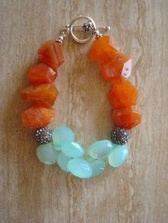 Orange Chalcedony And Aqua Chalcedony Beaded Gemstone Bracelet