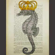 Seahorse with golden crown  ORIGINAL ARTWORK Mixed by Cocodeparis, $10.00