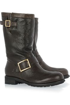 9f69c577210e1 Jimmy Choo - Textured-leather biker boots
