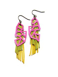 Leather earrings by BooandBooFactory Unique Handmade Geometric Jewelry Inspired by Color