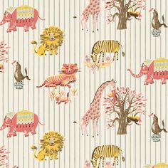 So cute! Zoo Animal vintage custom children wallpaper: 057 | Children's Vintage Wallpaper