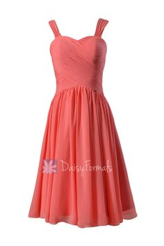 695a60850e1e4 Coral Sweetheart Chiffon Bridesmaid Dress Elegant Knee Length Party Dress  w/ Straps(BM800)