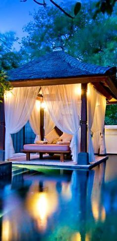 The Laguna Hotel in Nusa Dua, Bali. -- Etienne said her dream vacation would be to Bali, i wanna go with her some day! Romantic Places, Beautiful Places, Romantic Travel, Romantic Getaway, The Places Youll Go, Places To Go, Outdoor Spaces, Outdoor Living, Bali Huts