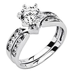 14K White Gold Solitaire CZ Cubic Zirconia High Polish Finish Ladies Wedding Engagement Ring with Round Side Stone and Matching Band 2 Two Piece Sets: Jewelry: Amazon.com