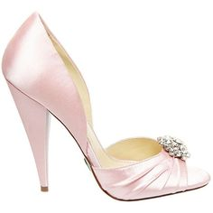 Betsey Johnson Gia ($80) ❤ liked on Polyvore featuring shoes, pumps, pink satin, pink shoes, pink pumps, cocktail shoes, evening shoes and special occasion shoes