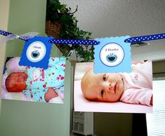 READY TO SHIP - Cookie Monster Birthday Party - 12 Month Banner (you add photos). $19.00, via Etsy.