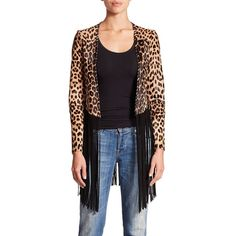 THEPERFEXT Christy Leopard-Print Calf Hair & Leather Fringe Jacket ($2,245) ❤ liked on Polyvore featuring outerwear, jackets, apparel & accessories, leopard, fringe leather jacket, black jacket, open front jacket, leopard print jacket e collarless jacket