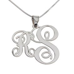 Sterling Silver Two Letters Small Big Monogram Necklace