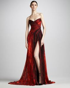 Strapless Chiffon Gown by Monique Lhuillier at Bergdorf Goodman.