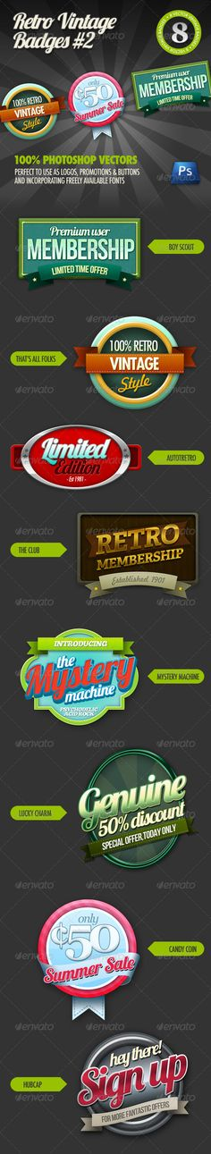 Buy 8 Retro Vintage badges by Sneek on GraphicRiver. 8 Retro Vintage Badges are back, and better than before! This time made with Photoshop vectors making them p. Vintage Type, Retro Vintage, Badges, Comic Text, Retro Graphic Design, Branding Design, Logo Design, 404 Pages, Id Card Template