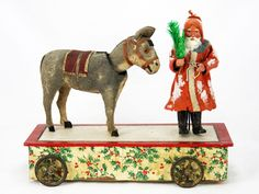 Antique German Mechanical Musical Santa and Donkey Nodder Pull Toy ca1910