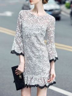 White Floral V neck 3/4 sleeve Embroidery Organza Mini Dress