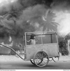 Stephen Dupont, Dili burns behind a small child in a cart, 1999 Photography Editing, Amazing Photography, Street Photography, Documentary Photography, Best Photographers, Photojournalism, Documentaries, Antique Cars, Burns