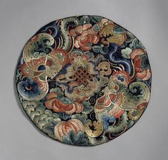 Embroidery Statin Stitch Silk embroidery on silk satin in Peking knot and satin stitch Qing dynasty, late century Diameter: 12 in. cm) Gift of Mrs. Chinese Fabric, Chinese Paper Cutting, Chinese Art, Chinese Patterns, Chinese Embroidery, Korean Art, Satin Stitch, Tribal Art, Mandala Art