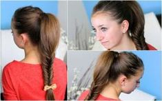 How to make a Fluffy Fishtail Braid hairstyles step by step DIY tutorial instructions Fishtail Ponytail, Fishtail Braid Hairstyles, Braided Hairstyles Tutorials, Hair Tutorials, Cute Girls Hairstyles, Hairstyles With Bangs, Easy Hairstyles, Hairstyle Ideas, Tutorial Diy