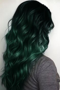 Black to Dark Green Mermaid Ombre Hair Extensions~ new style comes