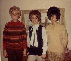Three teenagers (ages 14-16), 1969.  Hair Hoppers!