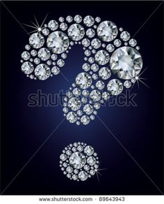 question-mark shape made up a lot diamond on the black background