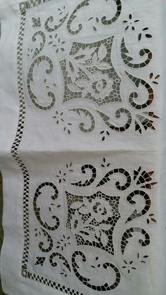Cutwork Embroidery, Embroidery Patterns Free, White Embroidery, Vintage Embroidery, Embroidery Stitches, Embroidery Designs, Linens And Lace, Cut Work, Antique Lace